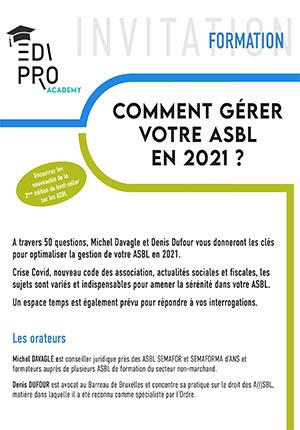 FORMATION - Comment gérer votre ASBL en 2021 ?